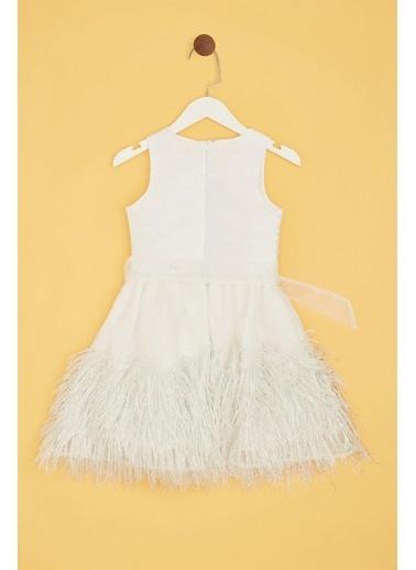 Tyess Kız Çocuk Beyaz Elbise Beyaz